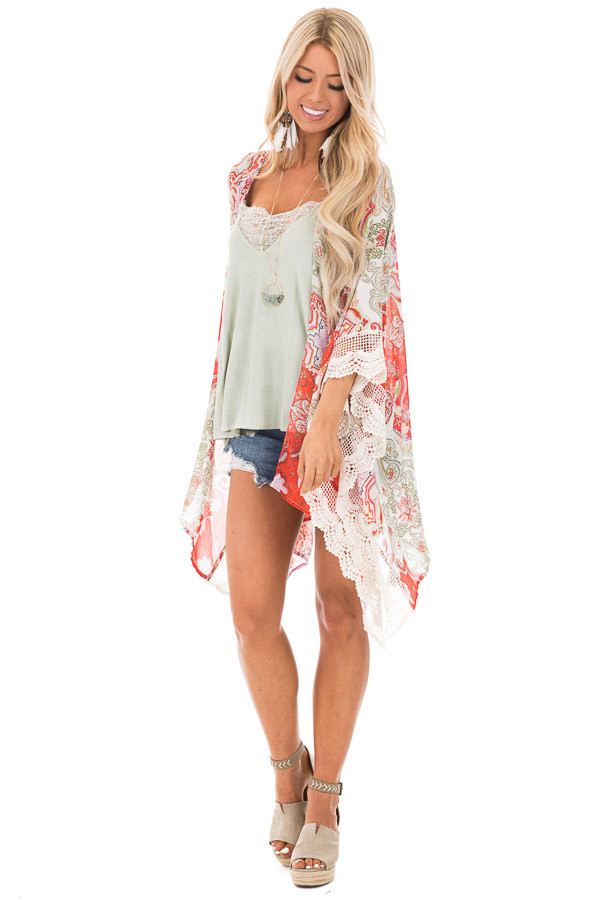 Scarlet and Ivory Paisley Print Kimono with Crochet Trim front full body