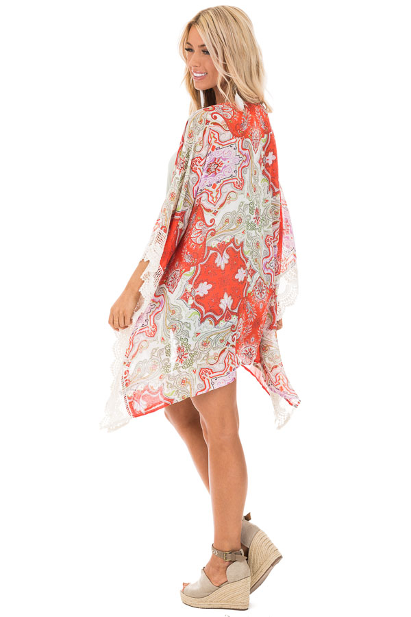 Scarlet and Ivory Paisley Print Kimono with Crochet Trim side full body