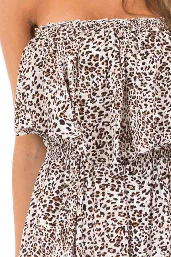 Oatmeal Leopard Print Strapless Jumpsuit with Ruffle Trim detail