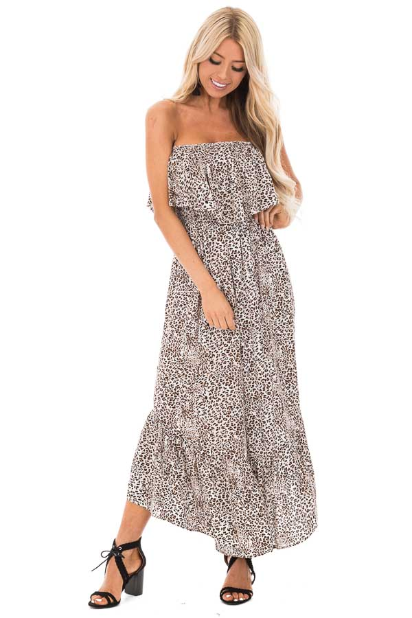 Oatmeal Leopard Print Strapless Jumpsuit with Ruffle Trim front full body