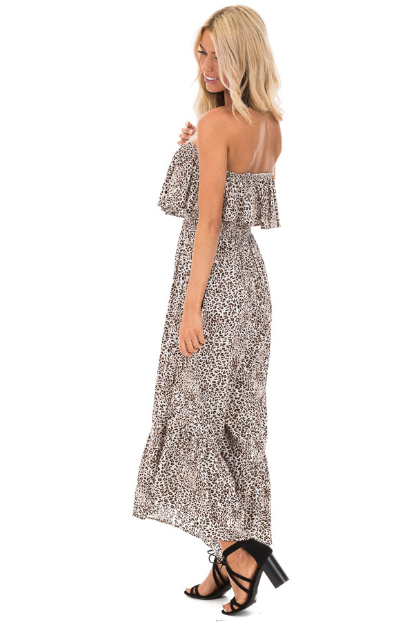 Oatmeal Leopard Print Strapless Jumpsuit with Ruffle Trim side full body