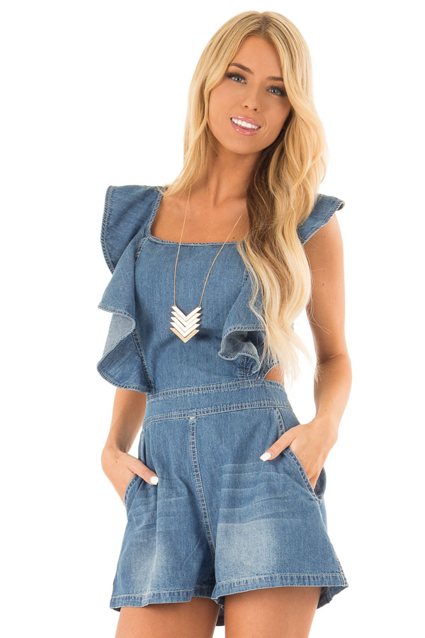Denim Romper with Open Back and Ruffle Detail front close up