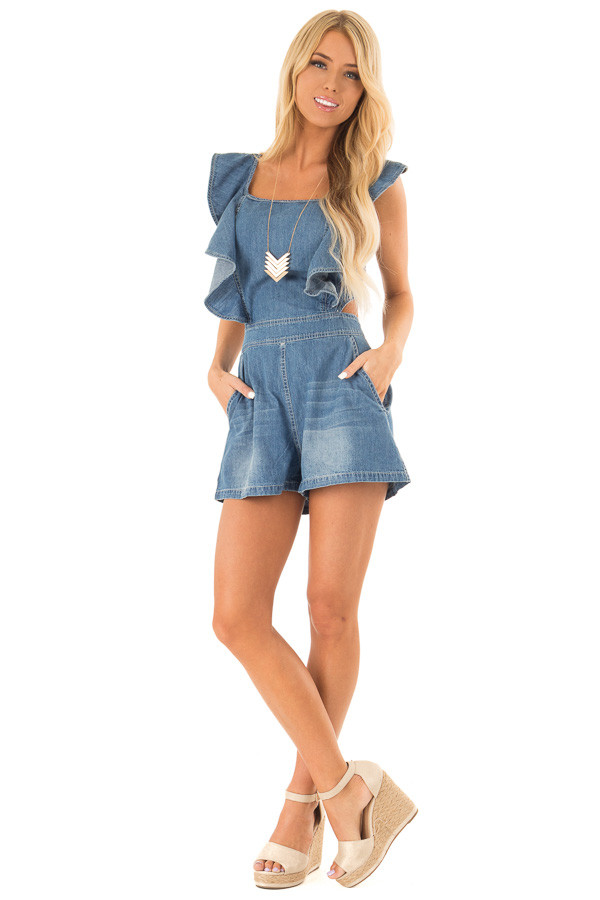 Denim Romper with Open Back and Ruffle Detail front full body