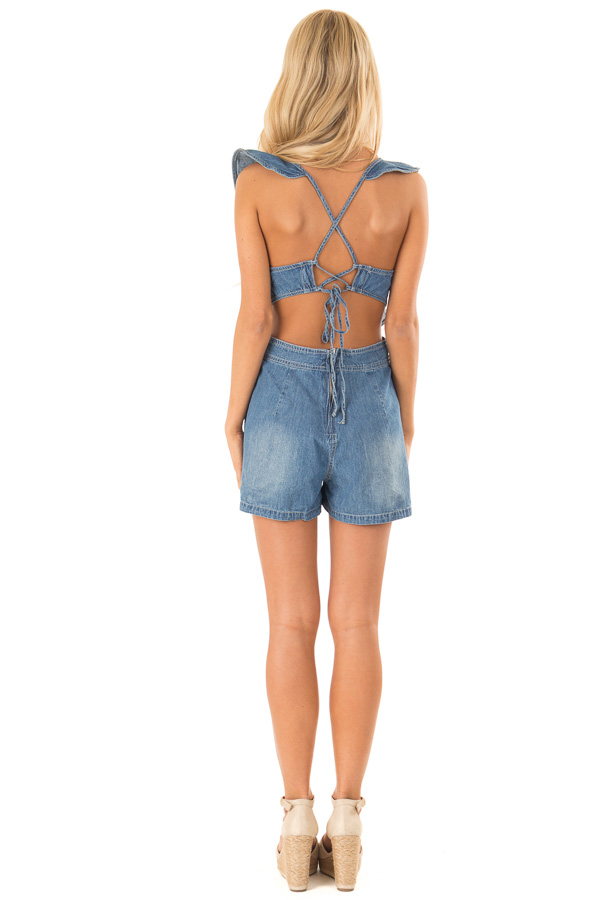 Denim Romper with Open Back and Ruffle Detail back full body
