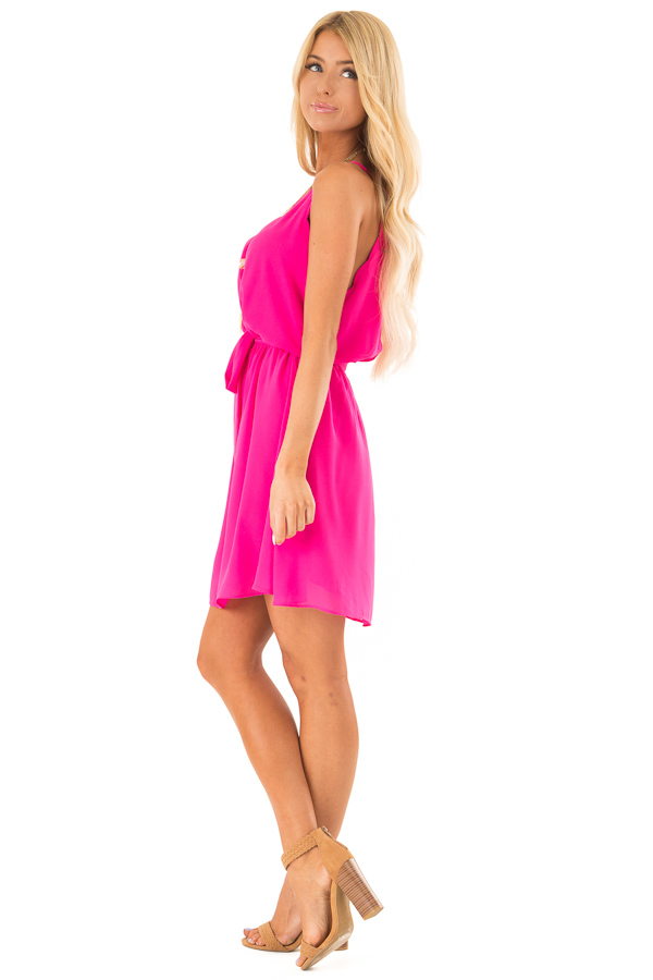 Hot Pink High Neck Mini Dress with Waist Tie side full body