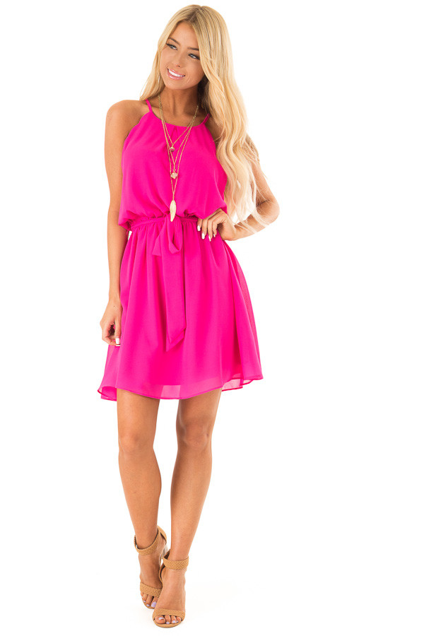 Hot Pink High Neck Mini Dress with Waist Tie front full body