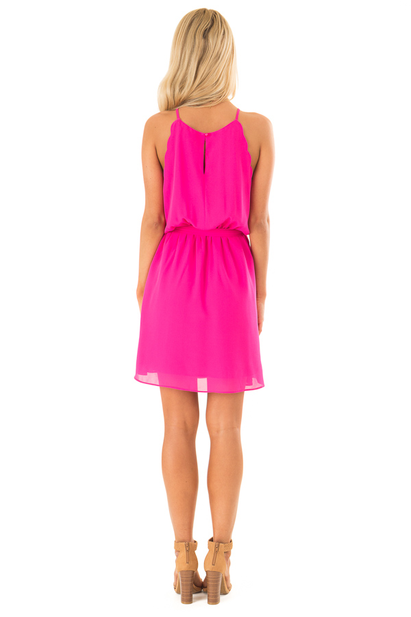 Hot Pink High Neck Mini Dress with Waist Tie back full body