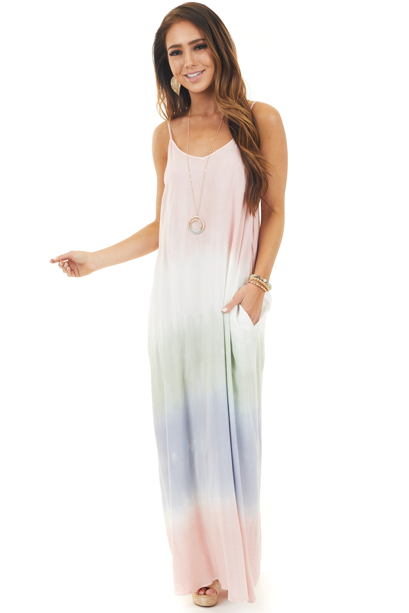 Multicolor Tie Dye Sleeveless Maxi Dress with Side Pockets