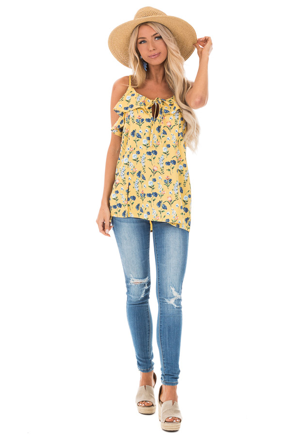 Golden Yellow Floral Tank with Ruffled Neckline Detail front full body