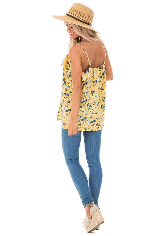 Golden Yellow Floral Tank with Ruffled Neckline Detail side full body