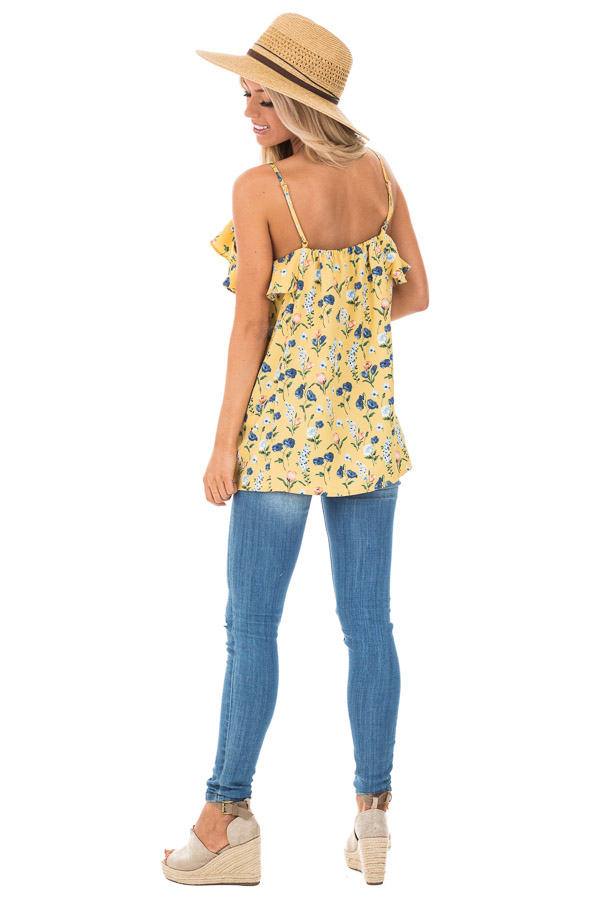 Golden Yellow Floral Tank with Ruffled Neckline Detail back full body