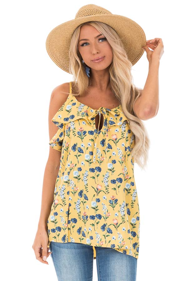 Golden Yellow Floral Tank with Ruffled Neckline Detail front close up