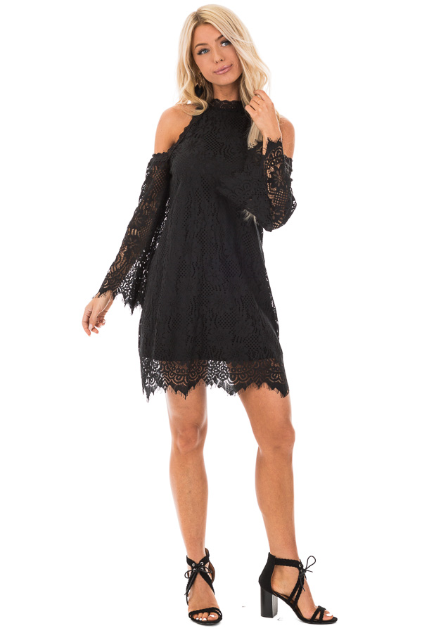 Black Floral Lace Cold Shoulder Long Sleeve Mini Dress front full body