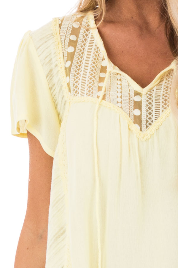 Banana Yellow Top with Lace Detail and Tassel Tie detail