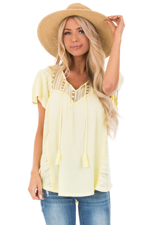 Banana Yellow Top with Lace Detail and Tassel Tie front close up