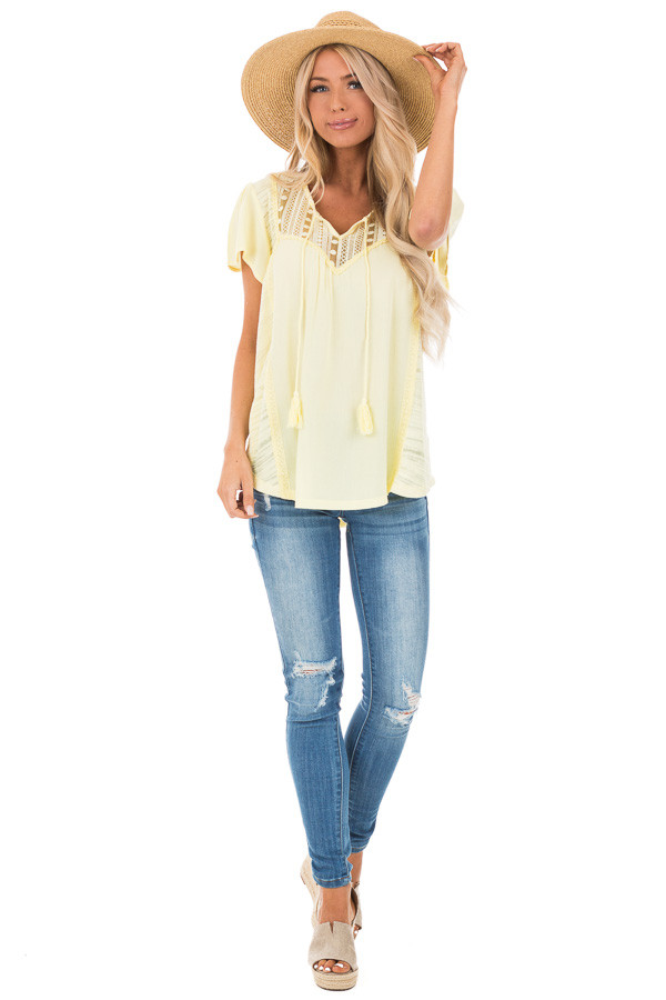 Banana Yellow Top with Lace Detail and Tassel Tie front full body