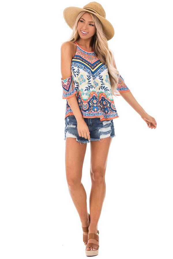 Ivory and Tangerine Leaf Print Top with Cold Shoulders front full body