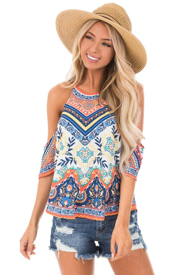 Ivory and Tangerine Leaf Print Top with Cold Shoulders front close up