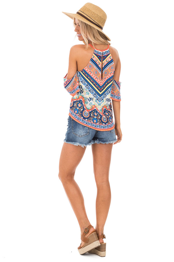 Ivory and Tangerine Leaf Print Top with Cold Shoulders back full body
