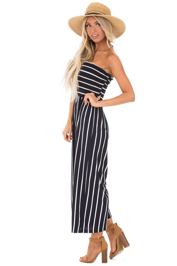 Navy and Off White Striped Strapless Jumpsuit side full body