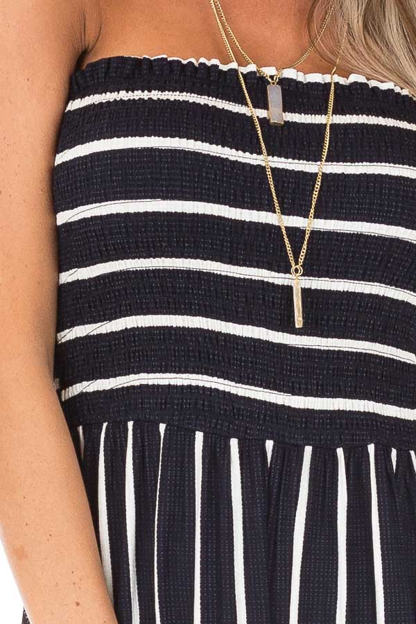 Navy and Off White Striped Strapless Jumpsuit detail