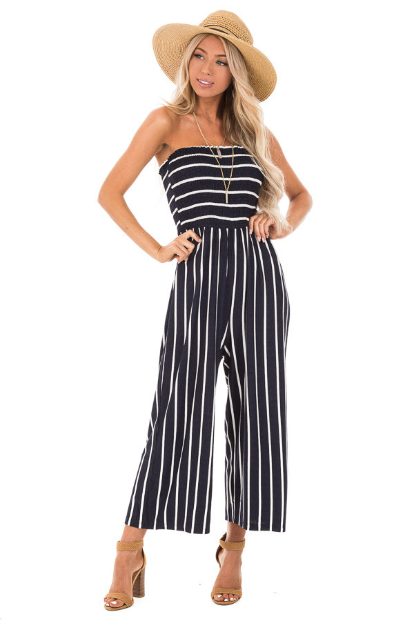 Navy and Off White Striped Strapless Jumpsuit front full body