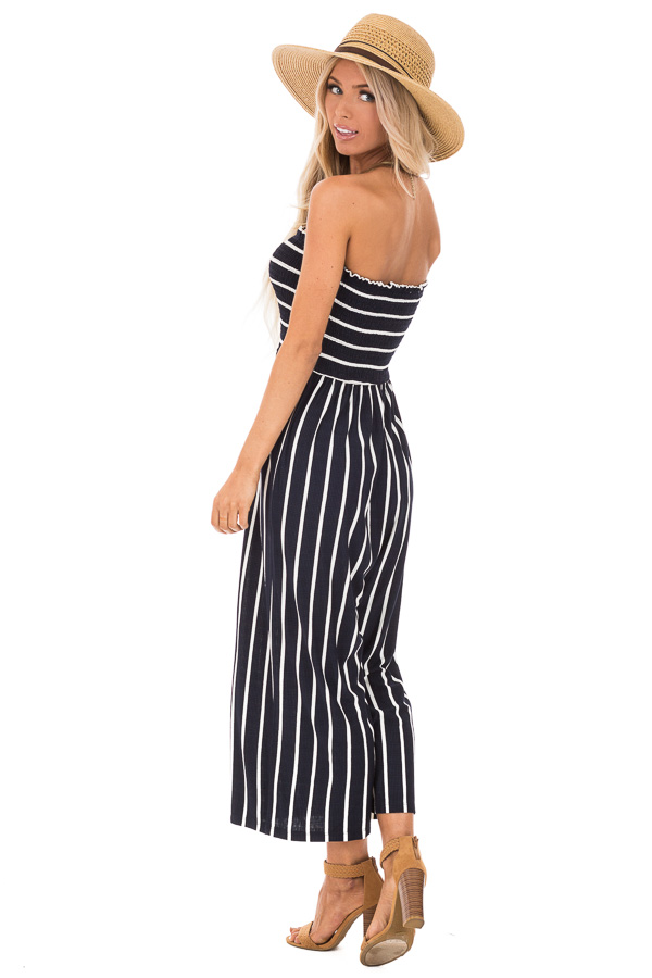 Navy and Off White Striped Strapless Jumpsuit back full body