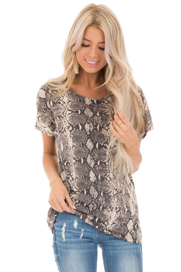 Cream Snakeskin Print Short Sleeve Top with Cinched Back front close up