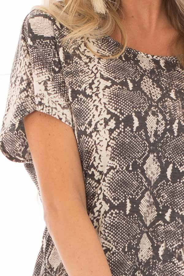 Cream Snakeskin Print Short Sleeve Top with Cinched Back detail