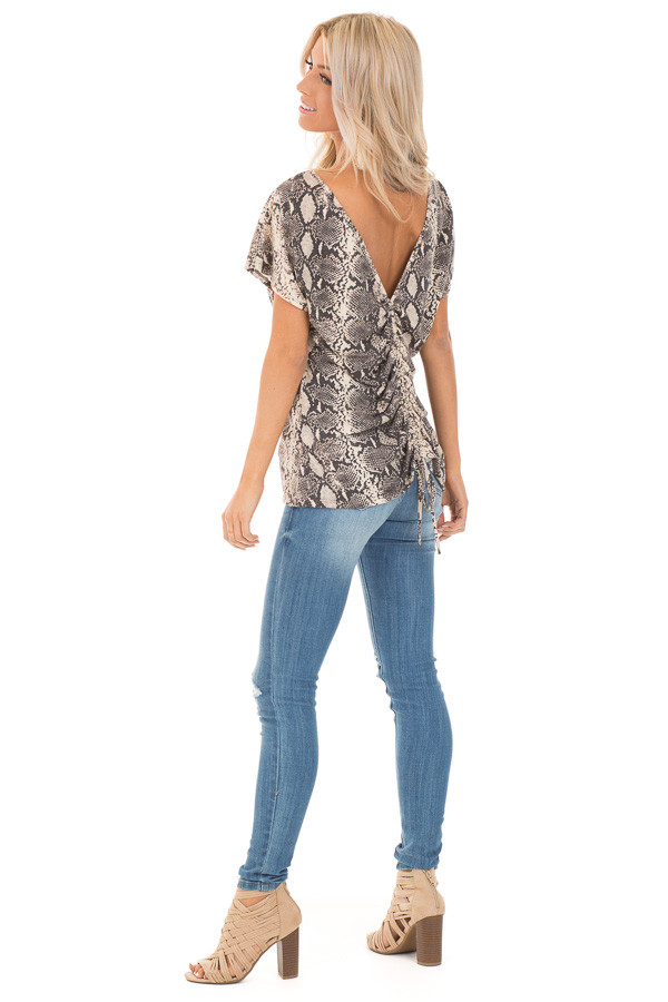 Cream Snakeskin Print Short Sleeve Top with Cinched Back side full body