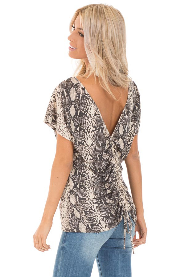Cream Snakeskin Print Short Sleeve Top with Cinched Back side close up