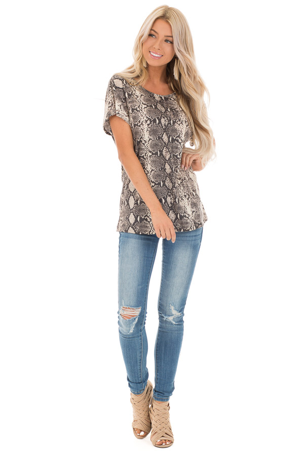 Cream Snakeskin Print Short Sleeve Top with Cinched Back front full body