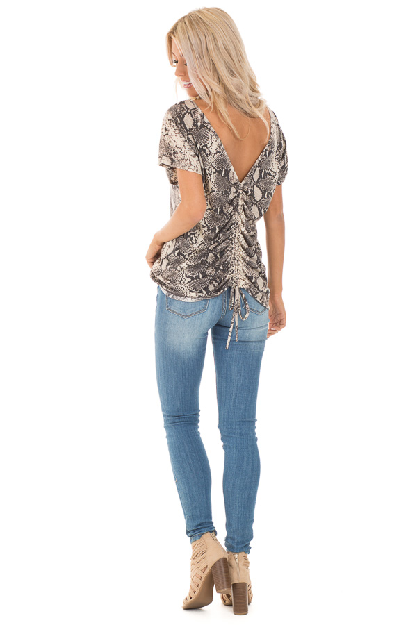 Cream Snakeskin Print Short Sleeve Top with Cinched Back back full body