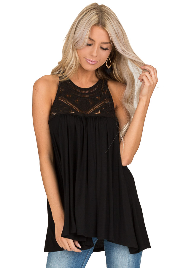 Raven Black Sleeveless Halter Tank Top with Crochet Details front close up