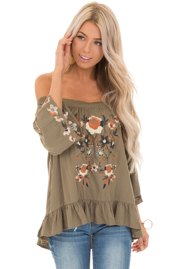 Olive Floral Embroidered Off Shoulder Top with Ruffle Detail front close up