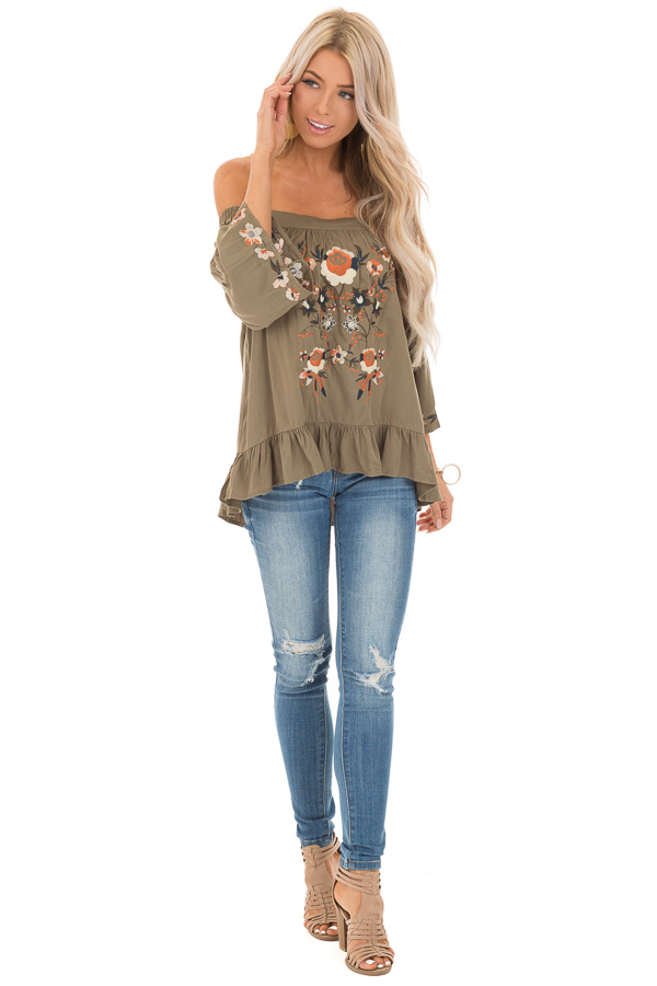 Olive Floral Embroidered Off Shoulder Top with Ruffle Detail front full body