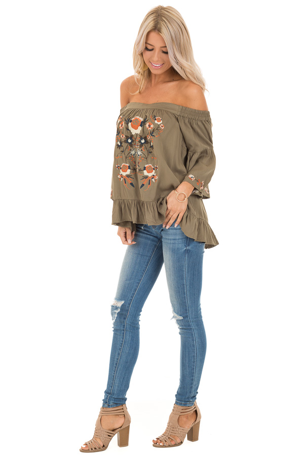 Olive Floral Embroidered Off Shoulder Top with Ruffle Detail side full body