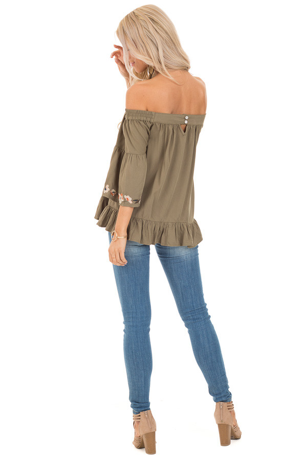 Olive Floral Embroidered Off Shoulder Top with Ruffle Detail back full body
