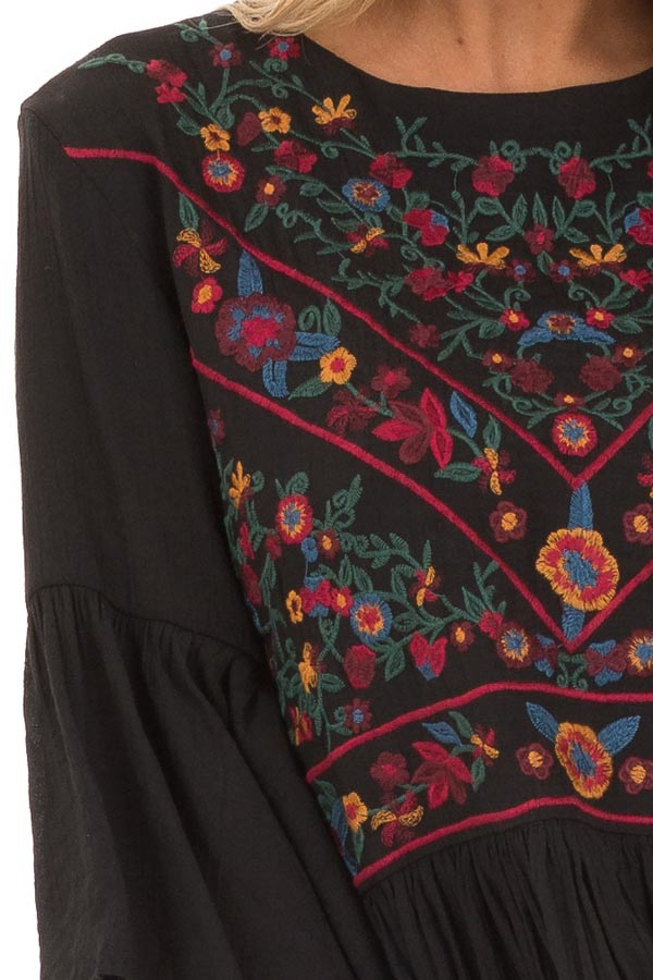 Jet Black Dress with Floral Embroidery and 3/4 Bell Sleeve detail