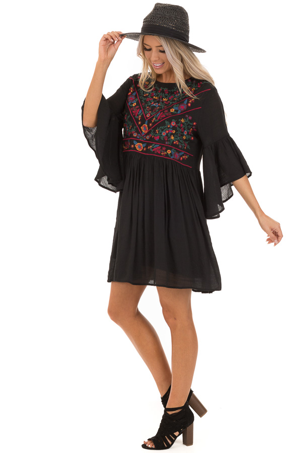 Jet Black Dress with Floral Embroidery and 3/4 Bell Sleeve front full body