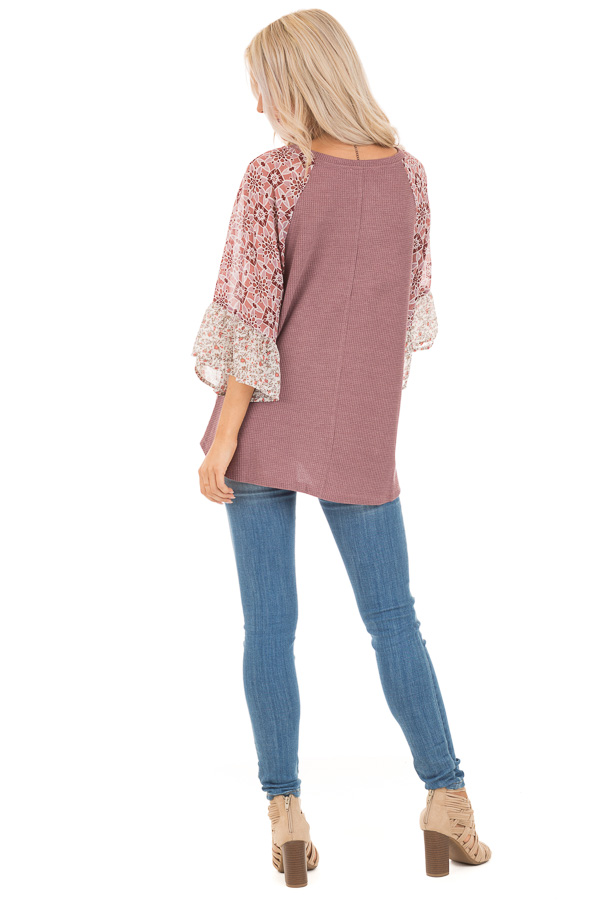 Mauve Waffle Knit V Neck Top with Floral Contrast Sleeves back full body