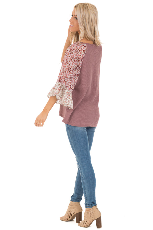 Mauve Waffle Knit V Neck Top with Floral Contrast Sleeves side full body
