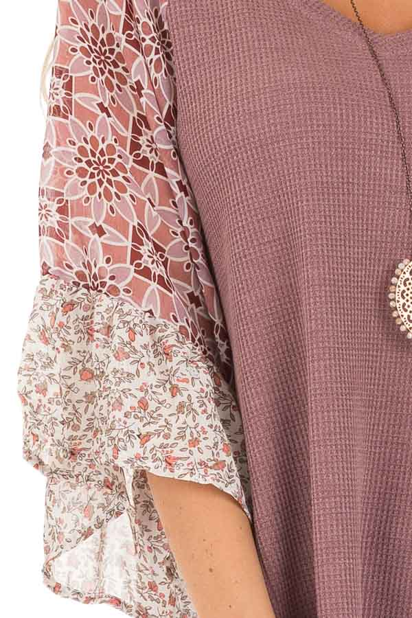 Mauve Waffle Knit V Neck Top with Floral Contrast Sleeves detail