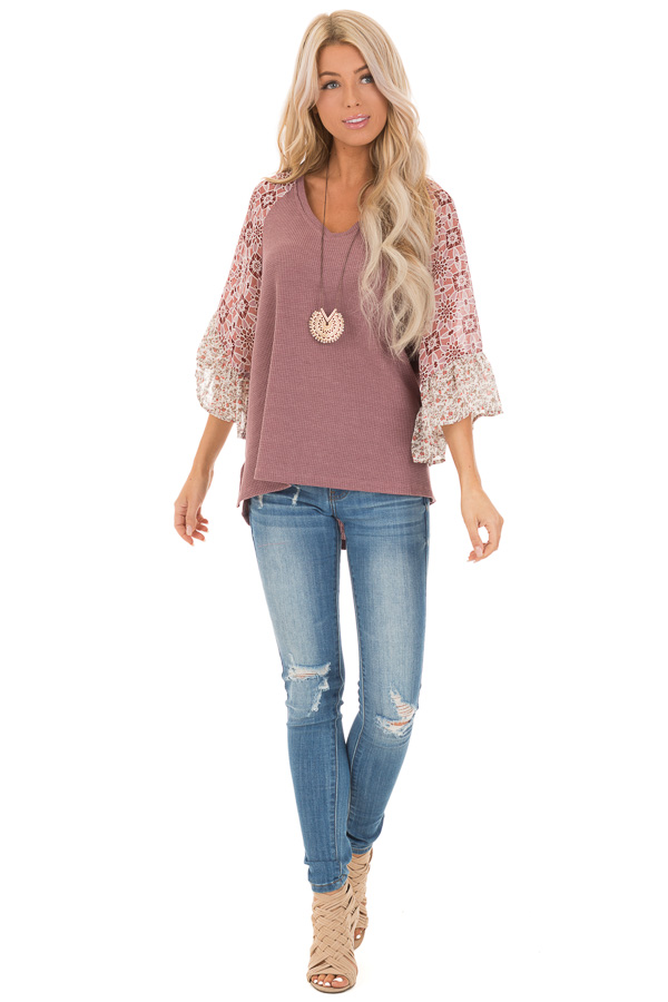 Mauve Waffle Knit V Neck Top with Floral Contrast Sleeves front full body