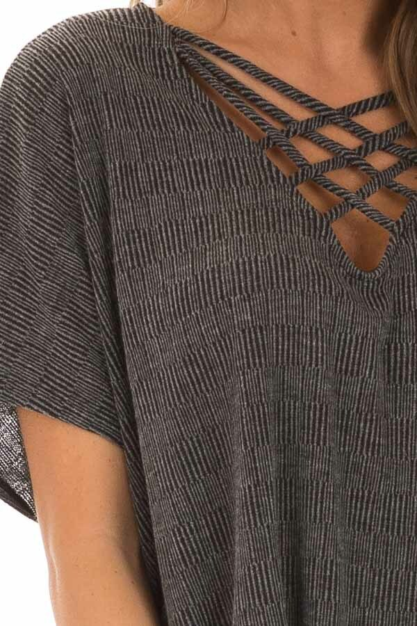 Charcoal and Grey Short Sleeve Top with Caged Neckline detail