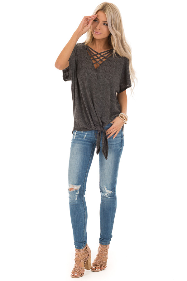 Charcoal and Grey Short Sleeve Top with Caged Neckline front full body
