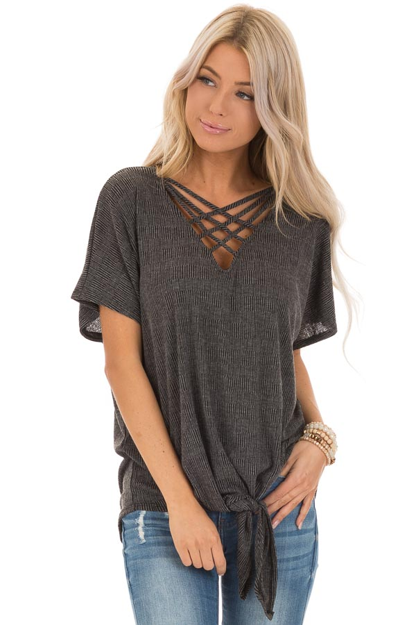 Charcoal and Grey Short Sleeve Top with Caged Neckline front close up