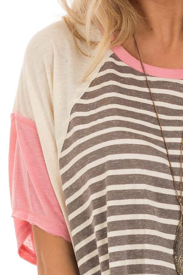 Charcoal and Cream Striped Color Block Short Sleeve Top detail