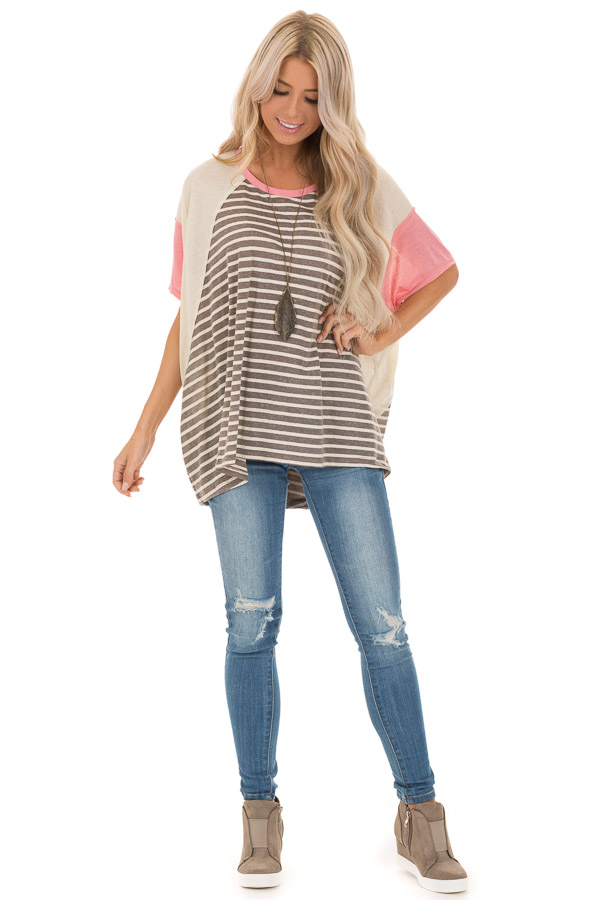 Charcoal and Cream Striped Color Block Short Sleeve Top front full body