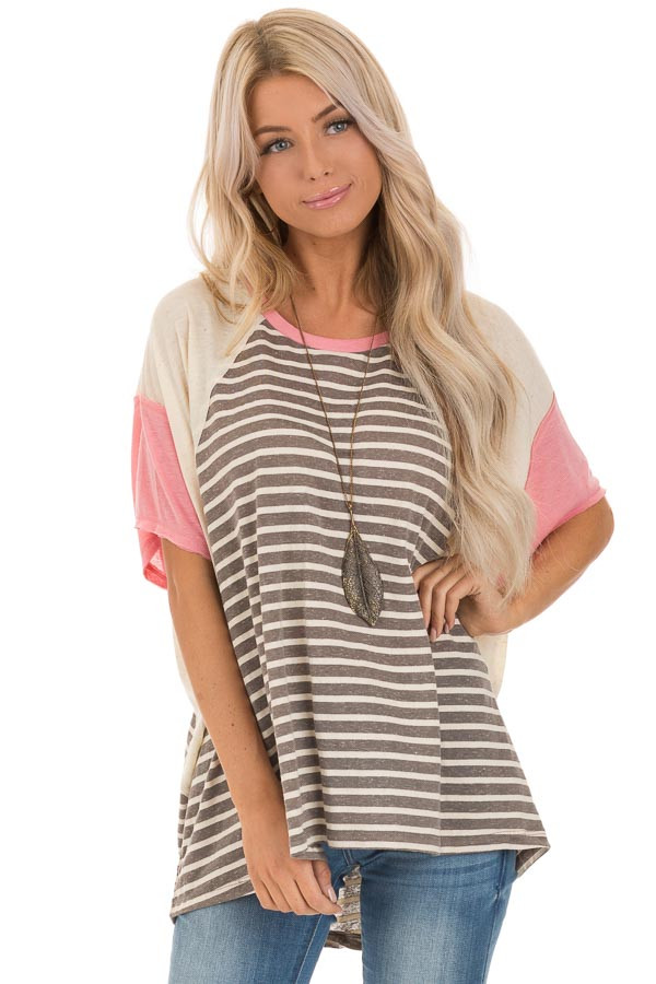 Charcoal and Cream Striped Color Block Short Sleeve Top front close up